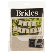 BRIDES Just Married Fabric Banner